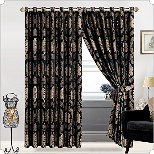 Sunrise Bedding Jacquard Ring Top Curtain Fully lined Eyelet Tape Pair Curtain (228cm x 228cm) for Bedroom Living Room + 2 Tie Backs (2 x (90″ W x 90″ L), B.Black)