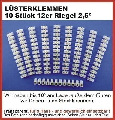 10 Lüsterklemmen 2,5 mm² transparent je 12-fach transparent PVC /230V ~ und maximal 16 A / für Drähte / Leitungen von 0,5-2,5mm² / Standard Ausführung von digisky - Lampenhans.de