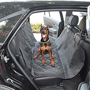 Whjy Coussin imperméable pour siège arrière Panier pour chien Coussin Chat Hamac de voyage de voiture antidérapant Chien de protection pour siège (Noir)