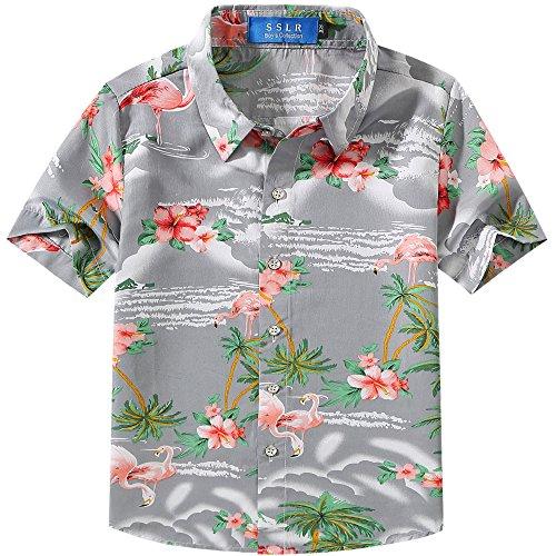 Herren Aloha Camp-shirt (SSLR Jungen Hemd Kurzarm Hawaiihemd mit Flamingos Baumwolle Freizeithemd Aloha Shirt (X-Small (5-6Jahren), Grau))