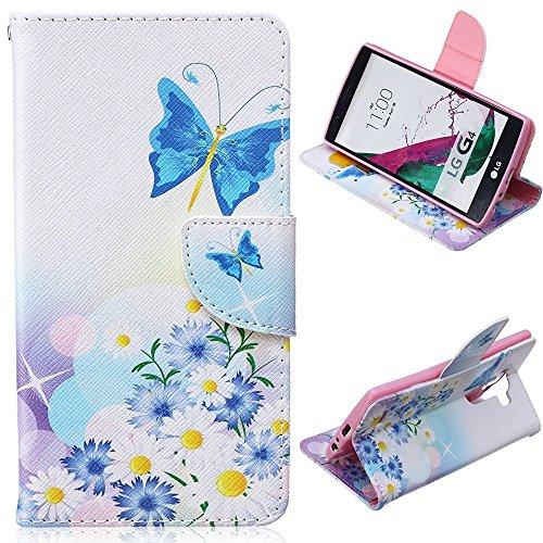 EMAXELERS LG G4 Case Blumen Niedlich Blau Weiß Schmetterling Muster PU Leder Handy SchutzHülle Hüllen mit Standfunktion Kunstleder für LG G4,Blue ButterfliesundBlue Chrysanthemum