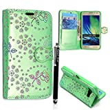 Samsung Galaxy S3 S3 Neo I9300 I9301 Case, Kamal Star® Superier Pu Leather Wallet Case with Credit Card / Note Slots With Free Stylus Pen (Rose Green Diamond Book)