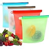 Herbruikbare siliconen voedsel opbergzakken 4 stuks, Usetcc vriezer zakken voedsel zakken lekvrij BPA vrij voor groente, frui