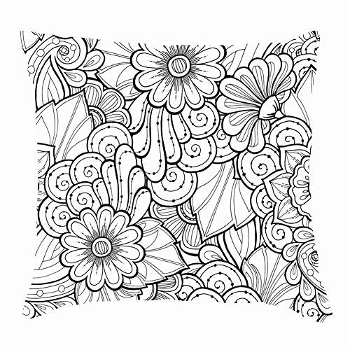 Doodle Doodles Flowers The Arts Throw Pillow Covers Cotton Linen Cushion Cover Cases Pillowcases Sofa Home Decor 18