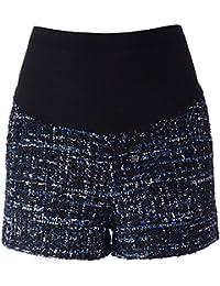 Hannea Stylish Elastic Waist Spliced Pocket Design Maternity Women's Shorts