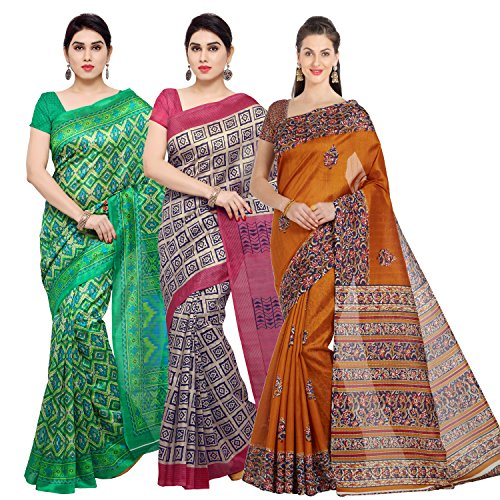 Oomph! Women's Raw Silk Printed Sarees Combo - Multi_combo3_73greentrbeigetr