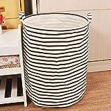 MMRM Ronda plegrable de algodón lavandería cesta bolsa de almacenamiento de ropa raya negro