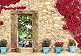 Welt-der-Träume Fototapete Tapete Wandbild Steinmauer in Blumen | P8 (368cm. x 254cm.) | Photo Wallpaper Mural 10503P8-MS | Imitation Stein Steine Wand Mauer Blumen See Teich