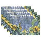 MUMIMI Gustave Platzdeckchen mit Ölgemälde, Sonnenblumen-Motiv, hitzebeständig, Esstisch-Mats, Rutschfest, Waschbar, 1 Stück, Mehrfarbig, 12x18inch