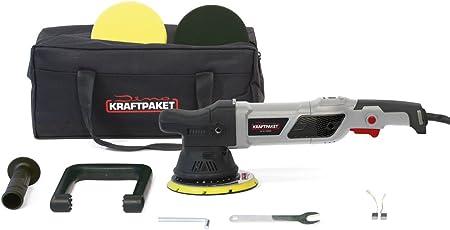 Dino KRAFTPAKET 21mm-950W Exzenter Poliermaschine 12-Stufig mit LCD-Display und Memory-Funktion im Set mit Polierschwamm Polierteller Tasche für Auto KFZ Boot XXL-HUB