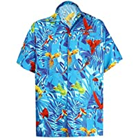 LA LEELA Casual Hawaiana Camisa para Hombre Señores Manga Corta Bolsillo  Delantero Surf Palmeras Caballeros Playa a19c2c36d7edc