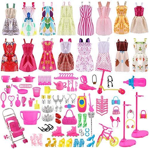 ASANMU 130 Piezas Accesorios Muñecas Barbie, Barbie Ropa y Zapatos, Mini Vestidos de Moda, Perchas y Accesorios de Cocina para Muñecas Barbie cumpleaños Soporte para niñas