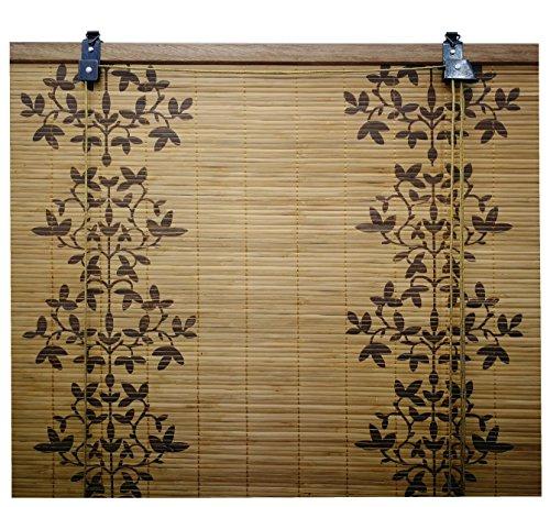 Tenda rullo legno / tenda bambu pieghevole / tapparella avvolgibile / tenda rullo finestre, largh.x lungh.= (150 x 135 cm, c / fiore)