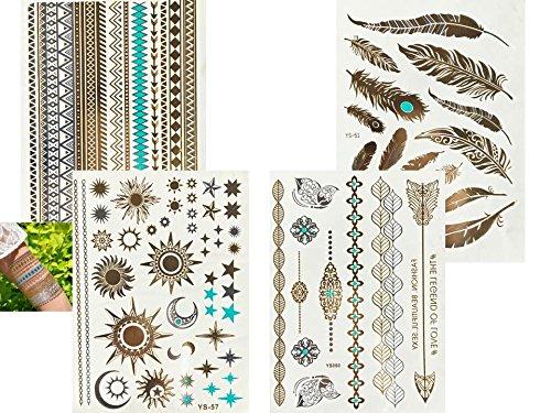 4fogli metallic flash tattoo oro argento turchese fake tatuaggi piuma sole stern henna bracciali set sole
