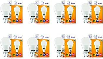 Wipro Garnet Base B22 9-Watt LED Bulb (Pack of 8, Warm White)