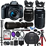 Canon EOS Rebel T7i DSLR Camera With 18-55mm STM Lens Bundle +Canon EF-S 55-250mm F/4-5.6 IS STM Lens And 500mm Preset Lens + 32GB Memory + Filters + Monopod + Spider Tripod + Professional Bundle