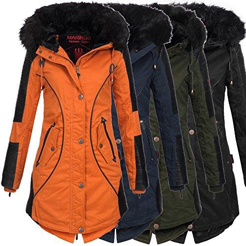 Marikoo LARISSA Damen Jacke Parka Mantel Winterjacke warm gefüttert 4 Farben