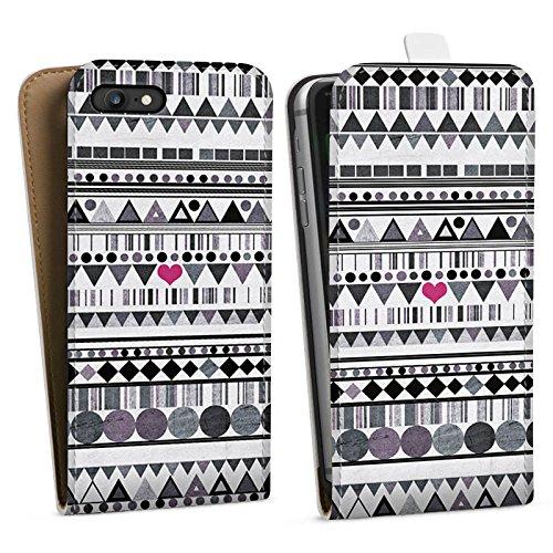 Apple iPhone X Silikon Hülle Case Schutzhülle Muster Herz Art Downflip Tasche weiß