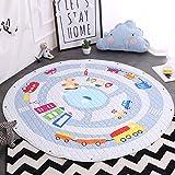 Kinder Aufräumsack Spielmatte Spielzeugteppich für kinderzimmer Speicher Tasche& Aufbewahrung,⌀150cm (Auto)