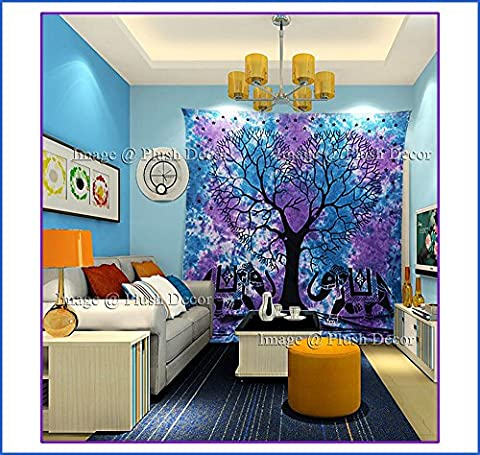 PLUSH DECOR Heart Tie Dye Tapestry Indian Elephant Purple-Blue