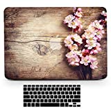 Bizcustom Macbook Wood Grain Pink Cherry Blossom Flower Floral Paint Hard Rubberized Shell Clear Bottom Case Keyboard Cover for Macbook Pro Retina 13 Old Model A1502/A1425, Does Not for 2016 Year
