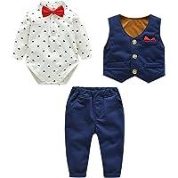 De feuilles Baby Boys Gentleman Romper Long Pants Tuxedo Formal Suit Wedding Outfits with Bowtie