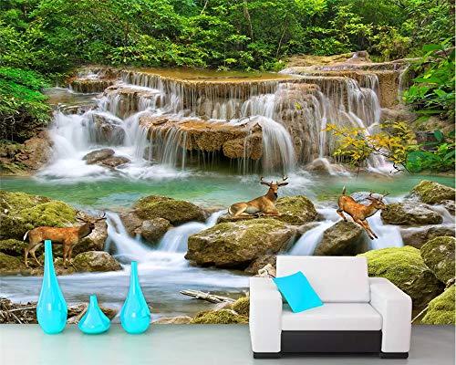 Super-hd-sockel (MuralXW Innendekoration 3D Wallpaper Super HD Stream Stream Wasserfall Wohnzimmer TV Hintergrundbild Tapete Wohnkultur-400x280cm)