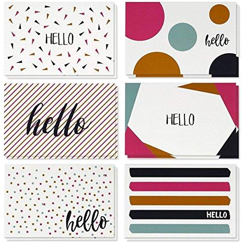 (Best Geschenkpapier Grüße 48Stück alle Anlass sortiert blanko auf der Innenseite Note Karten für Ihren–Grußkarte Bulk Box Set–6moderne Hello Designs Aufstellkarten mit Umschläge enthalten, 10,2x 15,2cm)