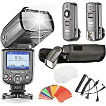 Neewer& reg; i-TTL Flash Kit Professional para D3S D50 D60 D70 D70S D80 D80S D200 D300 D300S D700 D3100 D3000 D7000 D5100 D5000 de Nikon and todos otras cámaras reflexivas digitales de Nikon, incluye (1)NW-985N flash esclavo con difusor de Neewer, (1) 3- en-1 2.4Ghz 16 Flash transceptor de canales inalámbricos, (1)Speedlite Kit de filtro de gel de 35-Color
