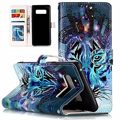 Galaxy Note 8 Wallet Case, STENES Stylish Series Tiger Premium Soft PU Color Matching [Stand Feature] Leather Wallet Cover Flip Cases for Samsung Galaxy Note 8 with Retro Dust Plug - Blue