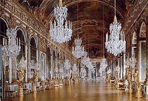 Aaloolaa 2,1x 1,5m Vinyle Photographie toiles de fond Photo Fond rétro européenne au palais de Versailles Miroir Gallery de luxe Chandelier Sculpture Chic plafond peint Mariage Props Studio d