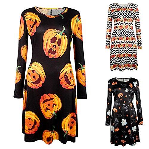 gainvictorlf Halloween-Zubehör, Hallowmas Cartoon Muster, Modeschmuck, langärmlig, Minikleid – Größe 3# M, 1#, M