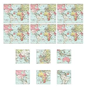 Set of 6 Voyager Map of World Tablemats and Coasters 6 Place Settings by Stow