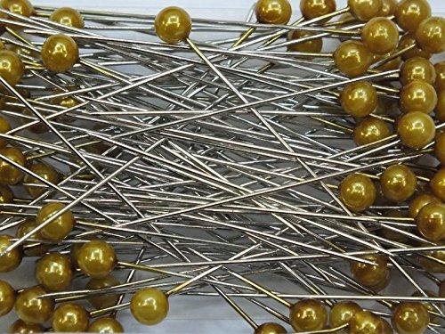 Perlen-Nadeln Deko-Nadeln 6mm 100 Stück viele verschiedene Farben (GOLD MATT)