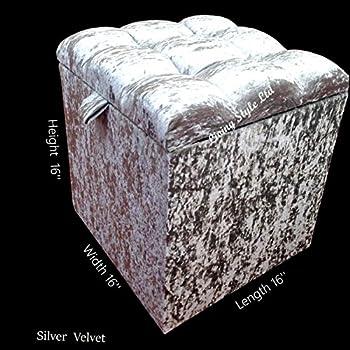 Crushed Velvet 1 Diamante Footstool Ottoman Storage Box In