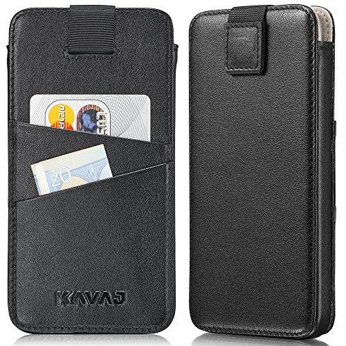 """KAVAJ - Étuis protecteur - modèle """"Miami"""" pour Apple iPhone X Etuis fin en cuir marron """"Cognac"""" véritable et compartiment intégré pour cartes de visite. Accessoire noble pour Apple iPhoneX original. Noir"""