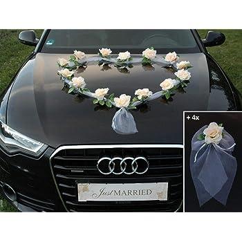 Organza M S Auto Schmuck Braut Paar Rose Deko Dekoration Hochzeit