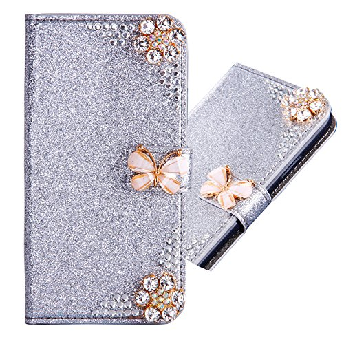 Samsung Galaxy S6 Edge 3D Butterfly Sunflower Bling Glitter Glitzer Diamond Musterg Ledertasche Slim Retro Bookstyle mit Standfunktion Karteneinschub Magnetverschluss Flip Wallet Hülle Schutzhülle