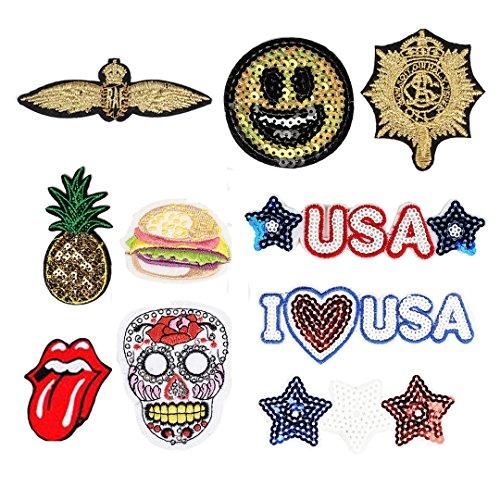 Cucire Ferro sulle patch badge patch fai-da-te per vestiti cappello Scarpe tessuto appliques Decor 10pezzi Set 2