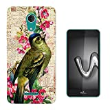 Cellbell LTD 002381 - Cute Bird Floral Vintage Shabby Chic Roses Fleur Girly Design WIKO Tommy 2 PLUS (2017) 5.5' Fashion Trend Protecteur Coque Gel Silicone protection Case Coque