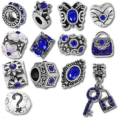 Pierre porte-bonheur Chronologie trinketts strass bracelet Charms Perles pour Bracelets Pandora Bijoux–Bleu Saphir