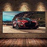 Canvas schilderij Moderne Wall Art Olie Canvas Schilderijen Supercar Fords Mustang Shelby GT500 Rode Auto Foto Woonkamer Deco