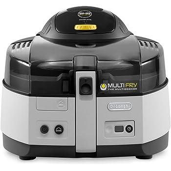 De'Longhi MultiFry Classic FH FH 1163/1  Heißluftfritteuse/Multicooker (1,5 kg Fassungsvermögen, 1.400W / 200W, 6 Portionen, SHS-Double, Rezepte-App) grau/weiß