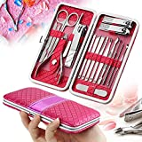 18 PCS Set de Manicura, Homga kit de pedicura manicura estuche de cuero Rose rojo-pedicura de acero inoxidable conjunto de uñas kit de aseo