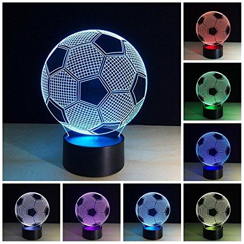 3D Illusion Geburtstag Nachtlicht, 7 Farben ändern Touch LED Lampe für Kinder Geburtstagsgeschenk (Fußball)
