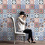 Tile Sticker,Clode® 1Set/ 25PCS 20*20CM Mosaic Flowers Print Vintage Square Self Adhesive Removable Europe Style Wall Sticker Rolls Home Kitchen Art Decor Match the Furnishings (Colorful 1)