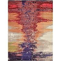 Moderno astratto Barcelona contemporaneo tappeto, Polipropilene, Orange, 8 x 11