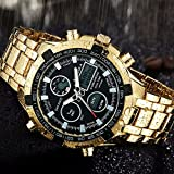 Herren Fashion Uhren Luxus Marke Gold Golden Uhren Herren Sport quartz-watch Dual Time relogio