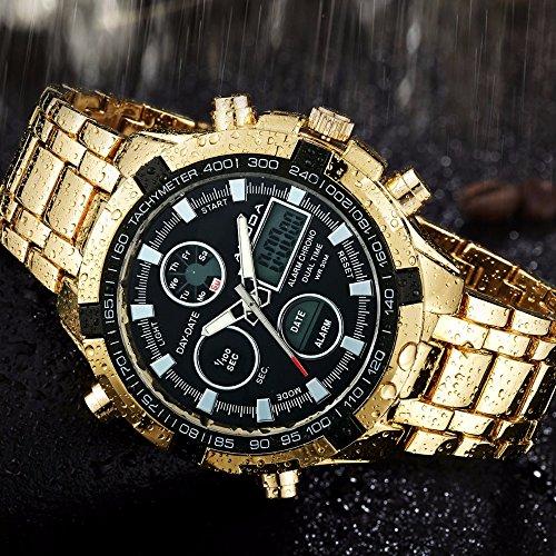 Herren Fashion Uhren Luxus Marke Gold Golden Uhren Herren Sport quartz-watch Dual Time relogio