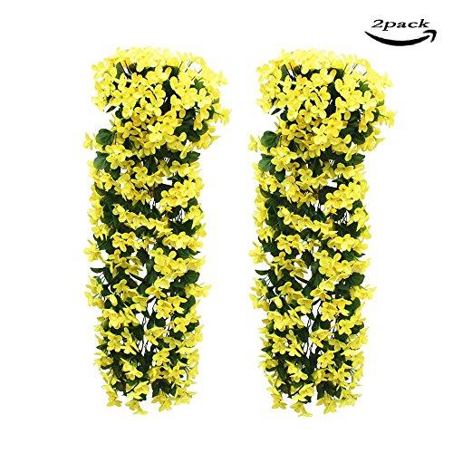 2 pezzi fiori artificiali pendenti lmytech pianta glicine finta/fiori glicine/glicine artificiale bianco/piante finte da appendere/piante rampicanti glicine/700 mm/wedding decor-giallo